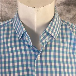 Hugo Boss men's button down shirt blue/white sz17